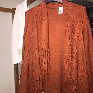A Burnt Orange Fringe Cardigan